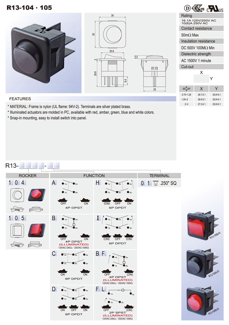 R13 Rocker Switch Car Switches Bentex Dpst Illuminated Wiring Diagram 104a 4p Off On 104b 104c 6p Dpdt 104d 104h